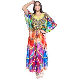 La Leela Soft Likre Digital Jewels Beachwear Kimono Night Kaftan Maxi Light Blue
