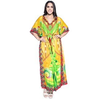 La Leela Women's Yellow Silk 3-in-1 Soft Likre Abstract Digital Art Kimono Long Nightgown Lounge Wear Party Cocktail Prom Kaftan