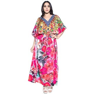 La Leela Soft Likre Digital Hibiscus Kimono Beach Kaftan Summer Dress Maxi Pink