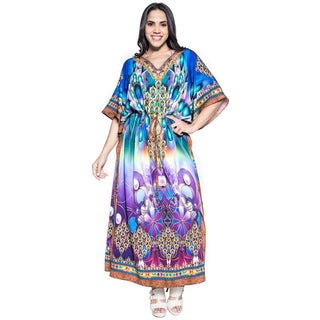 La Leela Soft Likre Eccentric Floral Long Beach Kaftan Evening Dress Light Blue