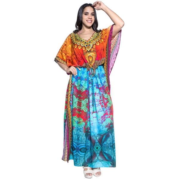 5f1ef2dc3608b ... Women s Clothing     Swimwear     Cover-Ups   Sarongs. La Leela Soft  Likre Tribal Art Beach Kimono Long Evening Dress Kaftan Maxi Blue