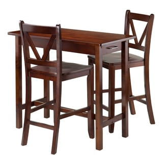 Winsome 3-piece Island Kitchen Table with 2 V-back Counter Stools