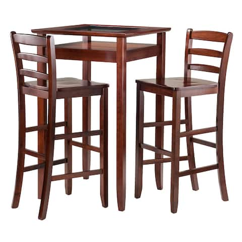 Winsome Halo 3-piece Dining Pub Table Set with 2 Ladder-back Stools