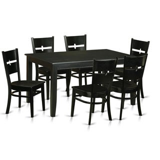 DURO7-BLK-W 7-piece Kitchen Dinette Table Set for 6