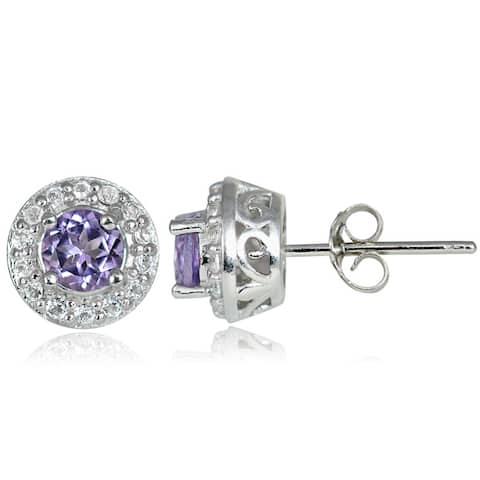 Glitzy Rocks Sterling Silver Gemstone and White Topaz 4mm Halo Stud Earrings