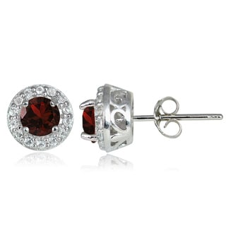 Glitzy Rocks Sterling Silver Gemstone and White Topaz 4mm Halo Stud Earrings