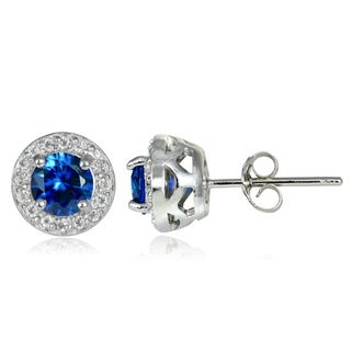 Glitzy Rocks Sterling Silver Gemstone and White Topaz 5mm Halo Stud Earrings