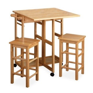 Winsome Wood 3-piece Space Saver Expandable Drop Leaf Table and Two Square Stools