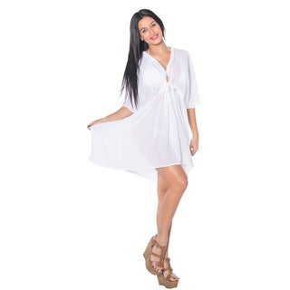 La Leela Women's One Size White Sheer Chiffon Solid Kaftan V Neck Top Tunic Dress Beachwear Cover-up