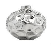 Modern Day Accents Abollado SM Silver Aluminum Table Vase