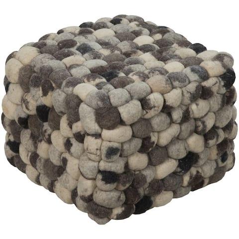 Cobblestone Wool Square Pouf (18 x 18 x 14)