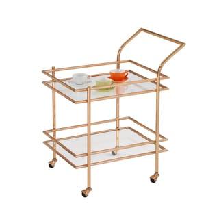 American Atelier Gold-framed Glass Shelf Rolling Cart