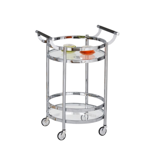 American Atelier Chrome Glass-shelf Rolling Cart