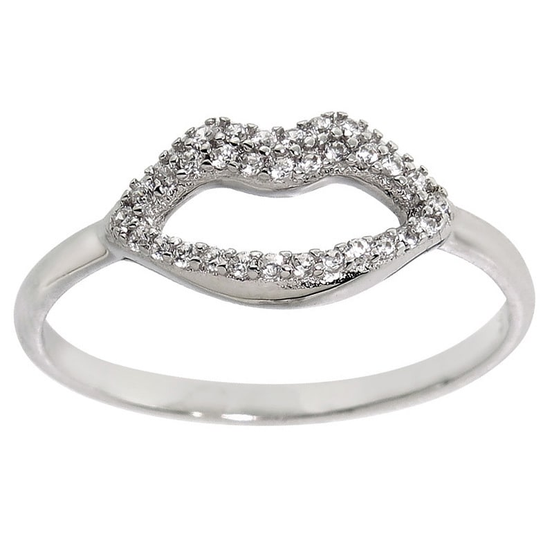 Eternally Haute Solid Sterling Silver Pave Lips Ring (10)...