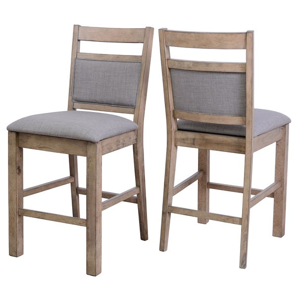 shop melville gray fabric and solid wood counter stools with backs set of 2 free shipping. Black Bedroom Furniture Sets. Home Design Ideas