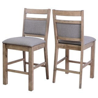 Melville Gray Fabric and Solid Wood Counter Stools with Backs (Set of 2)