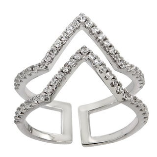 Eternally Haute White Brass Cubic Zirconia Pave Double Chevron Ring