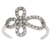 Eternally Haute Solid Sterling Silver Pave Open Cross Ring