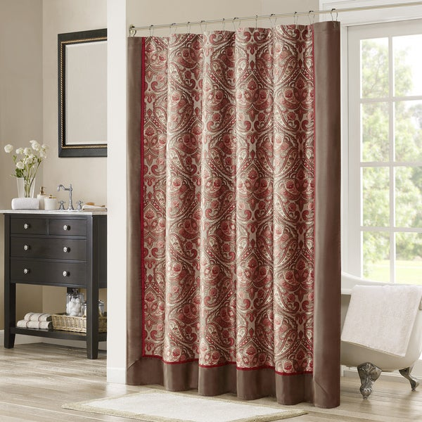 Shop Madison Park Preston Red/Brown Jacquard Shower Curtain - On ...