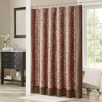 Madison Park Preston Red/Brown Jacquard Shower Curtain