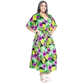 La Leela Women's Multicolor Beachwear Swimsuit Cover-up Nightwear Kaftan Dress