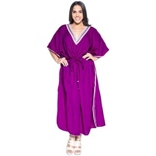 La Leela Smooth Rayon Plain Beachwear Evening Summer Dress Long Kaftan Violet
