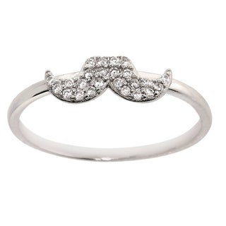 Eternally Haute Solid White Sterling Silver Cubic Zirconia Pave Mustachio Ring