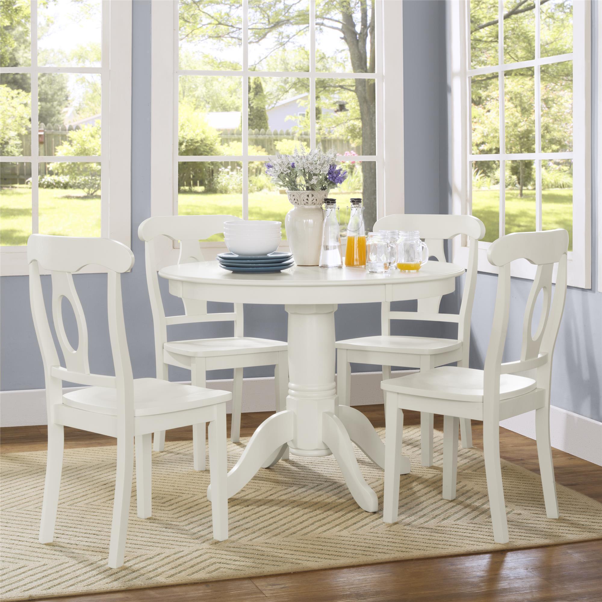 Dorel Living Aubrey White 5-piece Pedestal Dining Set (5 ...