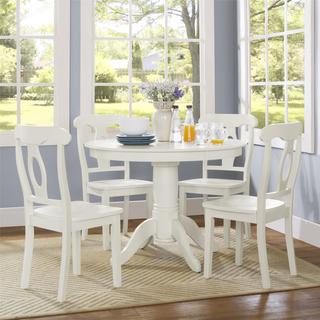 Beau Dorel Living Aubrey White 5 Piece Pedestal Dining Set