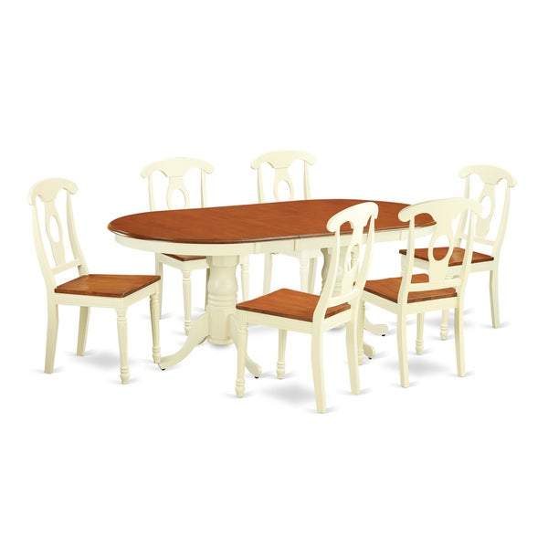 Cherry Kitchen Table And Chairs: Shop PLKE7-WHI-W Cherry/Black Rubberwood 7-piece Dining