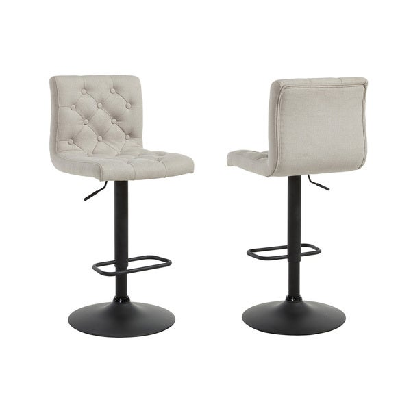 Dex Linen Adjustable-height Button-tufted Stools (Set of 2)  sc 1 st  Overstock.com : stools adjustable height - islam-shia.org