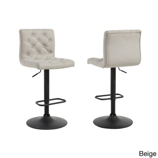 Dex Linen Adjustable-height Button-tufted Stools (Set of 2)
