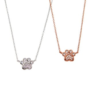Eternally Haute Solid Sterling Silver Pave Paw Print Necklace