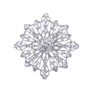 Silver Crystal Rhinestone 3-inch Brooch