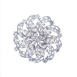 5046 Silver-plated Crystal Rhinestone 3-inch Brooch