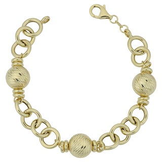 Fremada Italian 14k Yellow Gold Diamond-cut Ball Station Bracelet (7.75 inches)