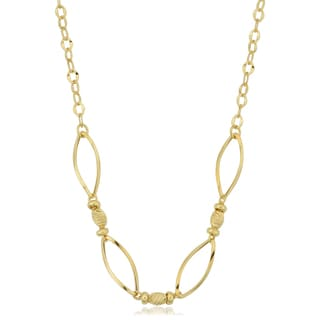 Fremada Italian 14k Yellow Gold Beads and Twisted Marquise Links Necklace (18 inches)