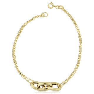 Fremada Italian 14k Yellow Gold Oval Links and Double Strand Forzatina Bracelet (7.5 inches)