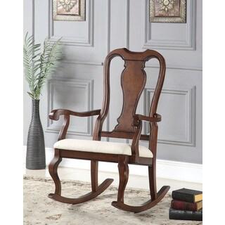 Sheim Beige Fabric and Cherry Wood Rocking Chair