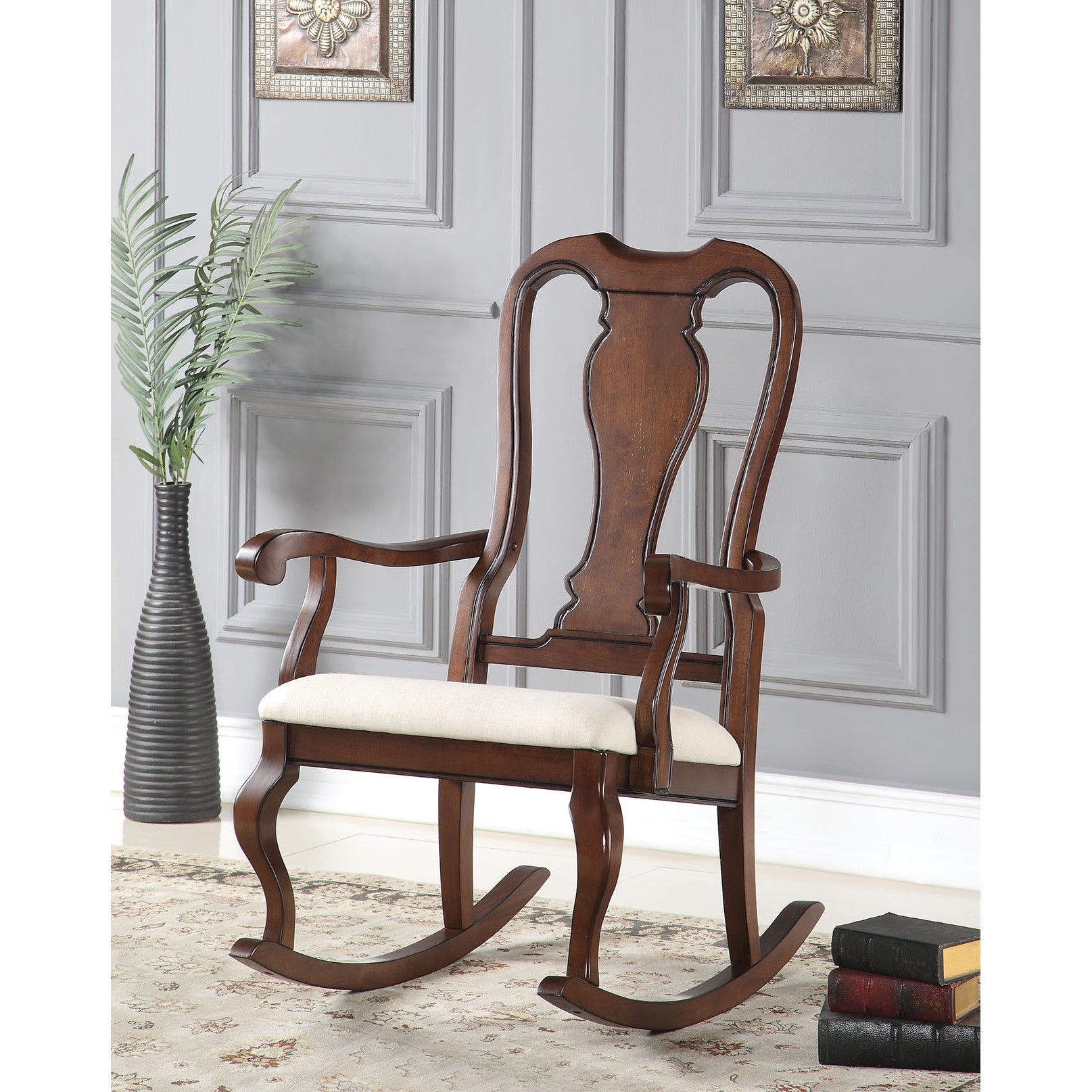 Wondrous Sheim Beige Fabric And Cherry Wood Rocking Chair Gmtry Best Dining Table And Chair Ideas Images Gmtryco