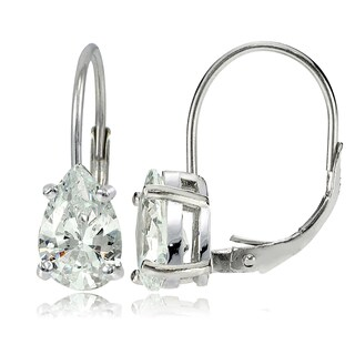 Icz Stonez Sterling Silver 9x6mm Pear Shape Cubic Zicronia Leverback Earrings