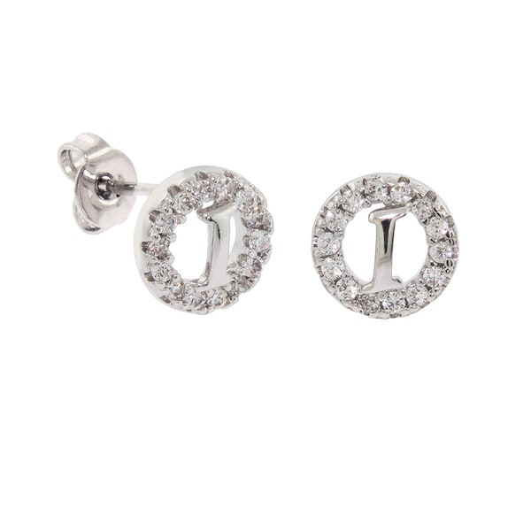 "Silver Plated Letter /""C/"" Earring with Pave Set Cubic Zircon"