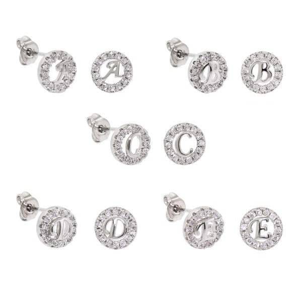 Eternally Haute White Brass Cubic Zirconia Pave Initial Stud Earrings
