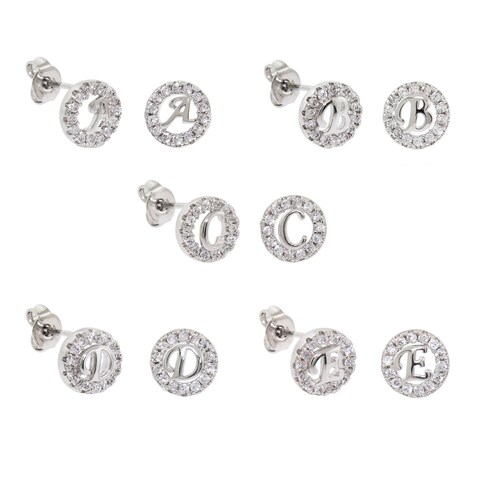 Eternally Haute White Brass Cubic Zirconia Pave Initial Stud Earrings