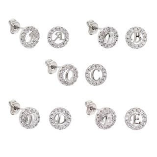 Eternally Haute White Brass Cubic Zirconia Pave Initial Stud Earrings|https://ak1.ostkcdn.com/images/products/12021409/P18896289.jpg?impolicy=medium