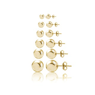 Mondevio Silver Polished Ball Bead Stud Earrings Set of 6 (3,4,5,6,8,10mm) (Option: Gold Plated - Yellow)