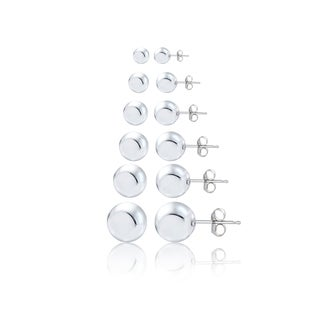 Mondevio Silver Polished Ball Bead Stud Earrings Set of 6 (3,4,5,6,8,10mm)