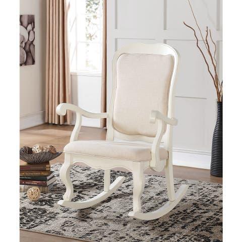 Sharan Antique White Wooden Rocking Chair