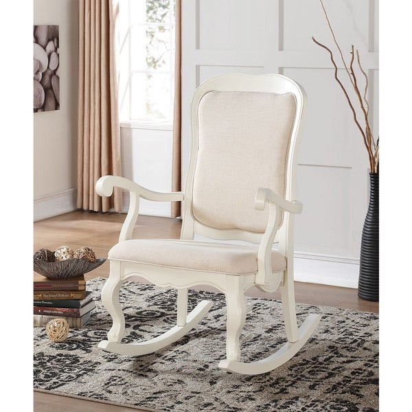 Sharan Antique White Wooden Rocking Chair