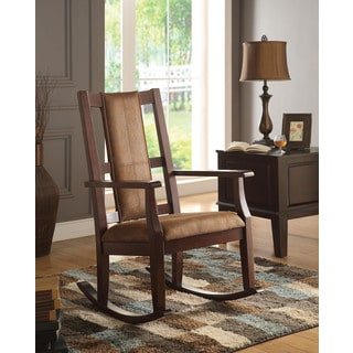 Butsea Espresso Brown Fabric/Foam/Rubberwood Rocking Chair